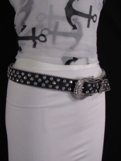 Other Women Black Leather Western Fashion Belt Silver Rhinestones Buckle