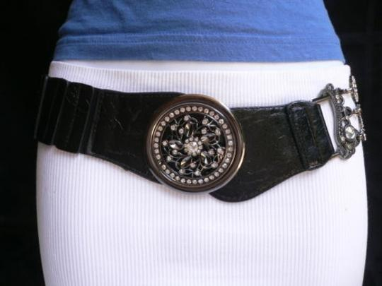 Other Women Wide Black Faux Leather Belt Moroccan Flower Metal Buckle 26-37 Xs-l