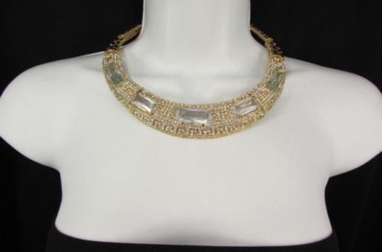 Other Women Gold Metal Short Choker Necklace Big Multi Rhinestones Earring Image 1
