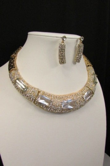 Other Women Gold Metal Short Choker Necklace Big Multi Rhinestones Earring Image 10