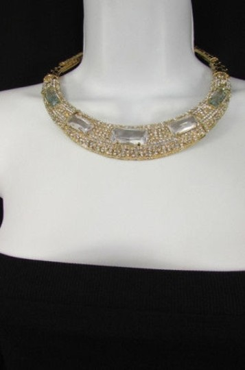 Other Women Gold Metal Short Choker Necklace Big Multi Rhinestones Earring Image 11