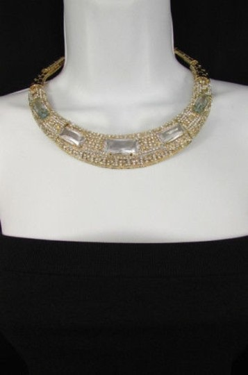 Other Women Gold Metal Short Choker Necklace Big Multi Rhinestones Earring Image 4