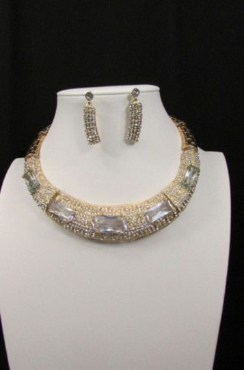 Other Women Gold Metal Short Choker Necklace Big Multi Rhinestones Earring Image 6