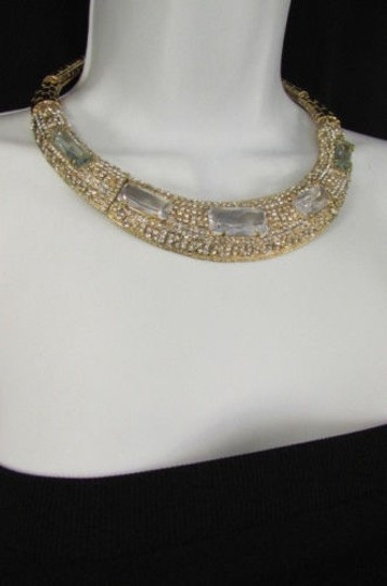 Other Women Gold Metal Short Choker Necklace Big Multi Rhinestones Earring Image 7