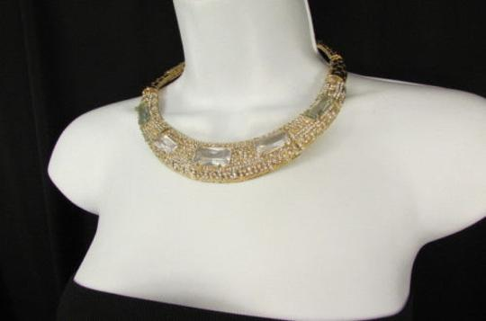 Other Women Gold Metal Short Choker Necklace Big Multi Rhinestones Earring Image 9