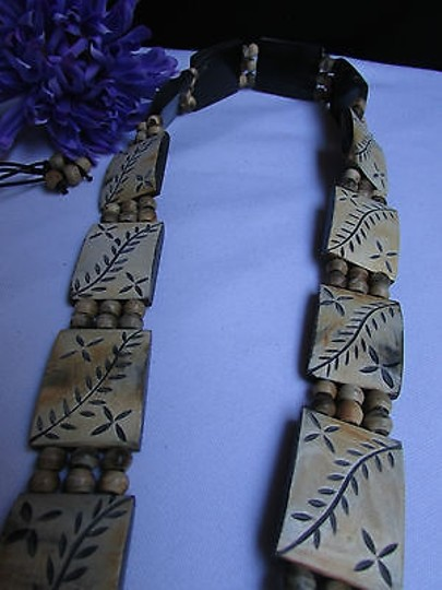 Other Women Beige Wood Plates Fashion Black Tie Belt Leaves Beads 26-36