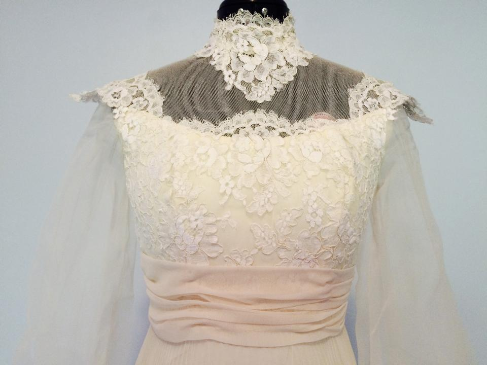 Beige Lace Tailor-made Gown 1950\'s Vintage Wedding Dress Size 2 (XS ...
