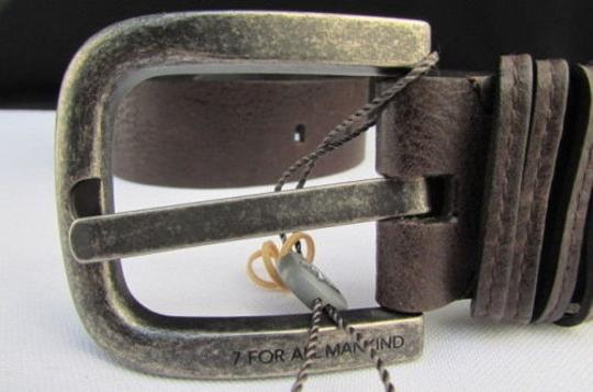 7 For All Mankind For All Mankind Women Fashion Belt Brown Leather Big Buckle 26-30