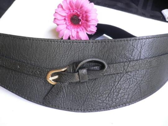 Other Women Wide Curved Black Faux Leather Belt Gold Twisted Buckle 27-37 S-m-l Image 11