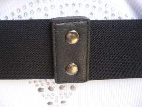 Other Women Wide Curved Black Faux Leather Belt Gold Twisted Buckle 27-37 S-m-l