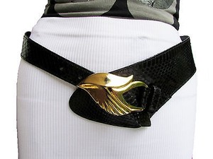 Other Women Black Genuine Snake Skin Wide Belt Gold Metal Bird Head Buckle 27-30