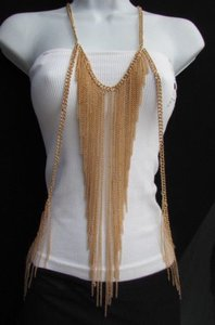 Women Gold Long Body Chain Front Fringes Hip Sides Fashion Necklace Jewelry