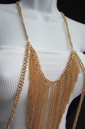 Other Women Gold Long Body Chain Front Fringes Hip Sides Fashion Necklace Jewelry