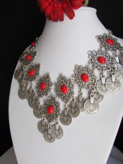 Other Women Metal Silver Chains Red Beads Moroccan Style Fashion Necklace Handmade