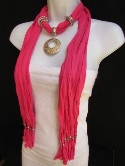 Other Women Hot Pink Fashion Soft Long Scarf Necklace Big Mayan Ring Pendant