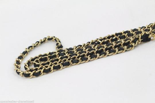Chanel Gold Belt or Necklace Laced with Black Leather CC Black Enamel Charm Image 2