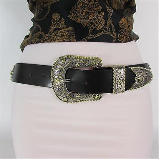 Other Women Black Leather Western Fashion Belt Texas Lone Star Rodeo Buckle