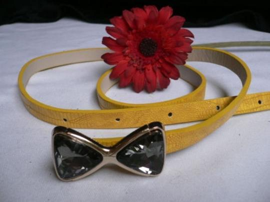Other Women Summer Yellow Thin Fashion Croc Belt Crystals Bow Buckle 27-37 Sml
