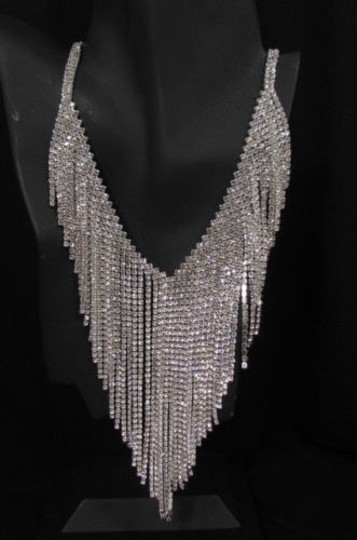 Other Women Necklace 40 Long Fashion Multi Fringes Rhinestones Earrings Set