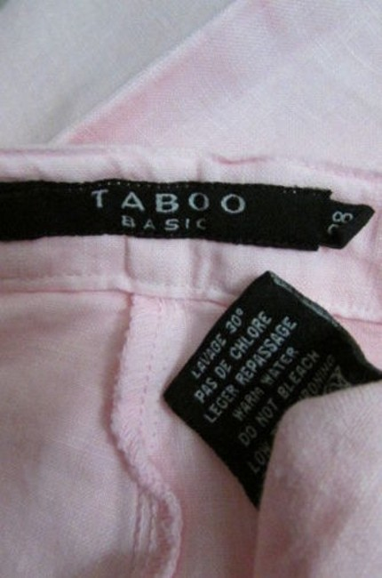 Taboo Basic Women Classic Linen Summer Fashion Cruise Trousers 32 Relaxed Pants Pink