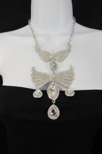 Other Women Metal Flying Wings Fashion Necklace Gold Silver Rhinestones Earrings