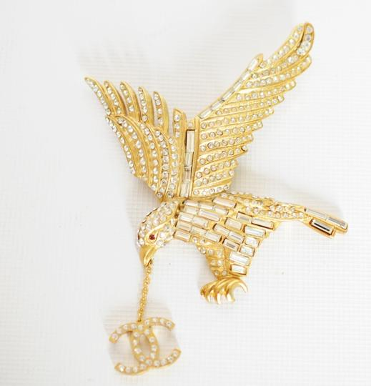 Chanel Gold & Crystal Eagle Brooch with CC Charms