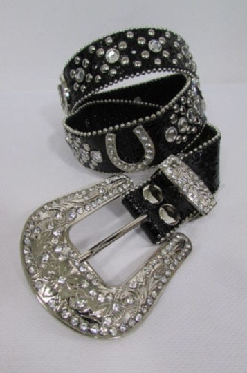 Other Women Black Leather Western Fashion Belt Silver Rhinestones Buckle Horse Shoe