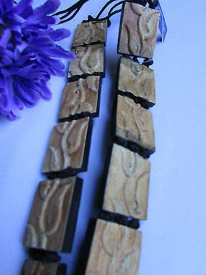Other Women Beige Hawaiian Wood Plate Fashion Tie Belt Flower Leaves 26-36