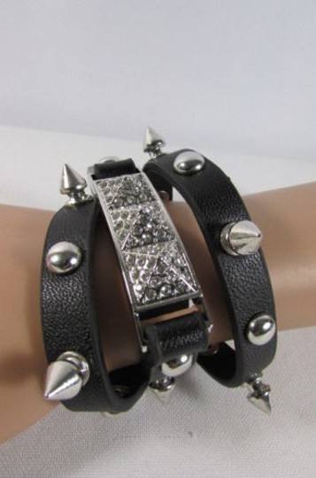 Other Women Wrap Around Faux Leather Fashion Bracelet Jewelry Spikes Gold Silver