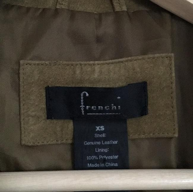 Frenchi Olive Suede Fitted Fall Green Leather Jacket