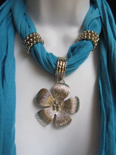 Other Women Baby Blue Fashion Soft Scarf Necklace Big Silvel Metal Flower Pendant Image 0