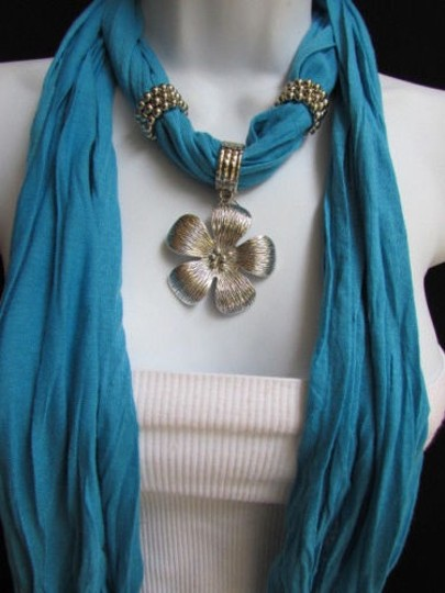 Other Women Baby Blue Fashion Soft Scarf Necklace Big Silvel Metal Flower Pendant Image 1