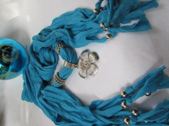Other Women Baby Blue Fashion Soft Scarf Necklace Big Silvel Metal Flower Pendant Image 10