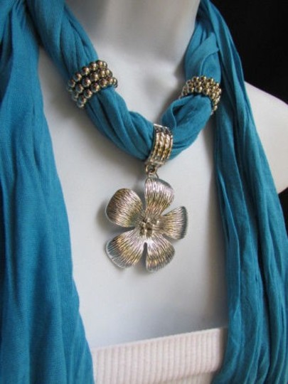 Other Women Baby Blue Fashion Soft Scarf Necklace Big Silvel Metal Flower Pendant