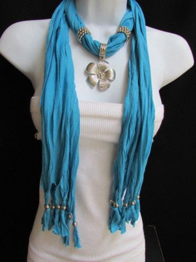 Other Women Baby Blue Fashion Soft Scarf Necklace Big Silvel Metal Flower Pendant Image 6