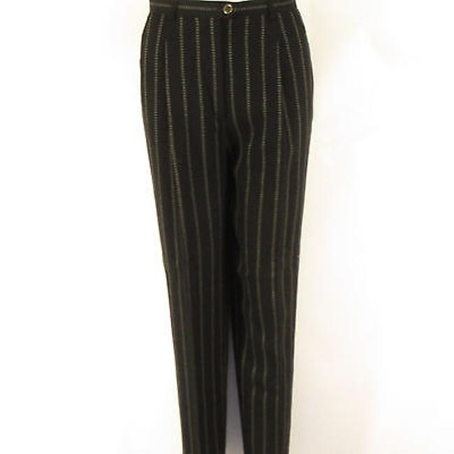 Escada Women Wool Classic Dress Beige Stripes Trousers Pants