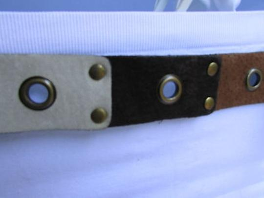Other Chic Women Brown White Faux Leather Multi Hole Tie Fashion Belt 35-42