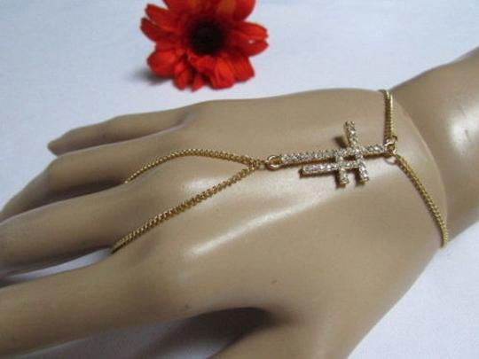 Other Women Gold Double Crosses Hand Fashion Slave Bracelet Ring Silver Rhinestone