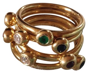 Tiffany & Co. Tiffany & Co. Paloma Picasso 18K Gold Diamond Gemstone Ring Set