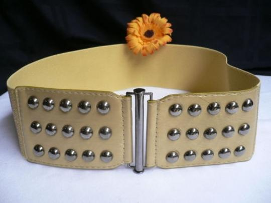 Other Women Summer Gold Faux Leather Wide Fashion Belt Pewter Studs 30-43 M-xl Image 3