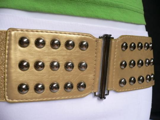 Other Women Summer Gold Faux Leather Wide Fashion Belt Pewter Studs 30-43 M-xl Image 6