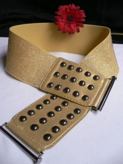 Other Women Summer Gold Faux Leather Wide Fashion Belt Pewter Studs 30-43 M-xl