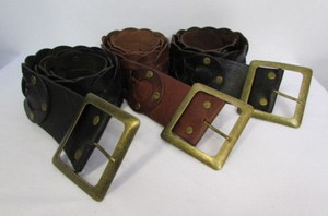 Women Belt Black Dark Brown Genuine Moroccan Leather Fashion Gold Buckle