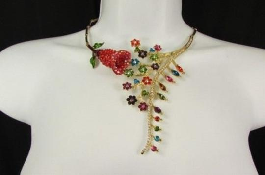 Other Women Fashion Bib Necklace Earrings Calla Lily Rhinestones Flower Gold Silver