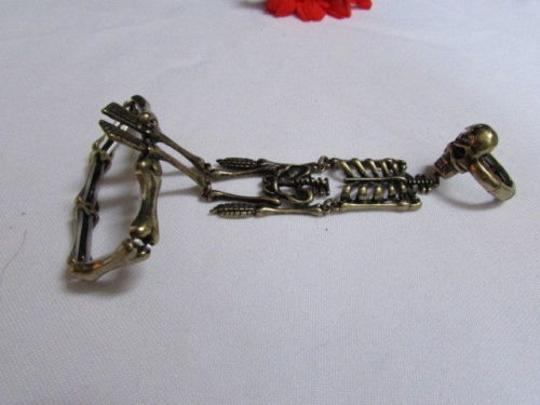 Other Women Rusty Gold Full Body Skeleton Hand Chain Skull Slave Bracelet Ring