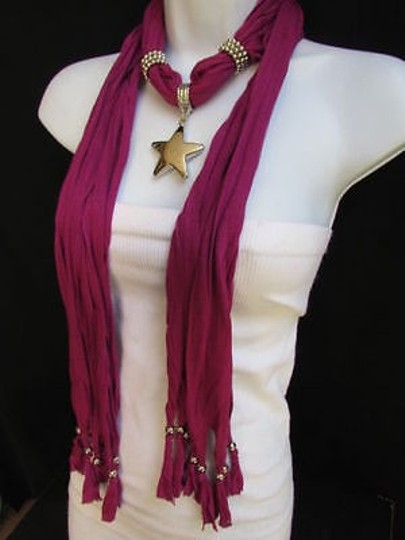Other Women Magenta Fashion Soft Scarf Necklace Big Silver Christmas Star Pendant