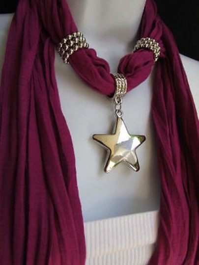 Other Women Magenta Fashion Soft Scarf Necklace Big Silver Christmas Star Pendant Image 1