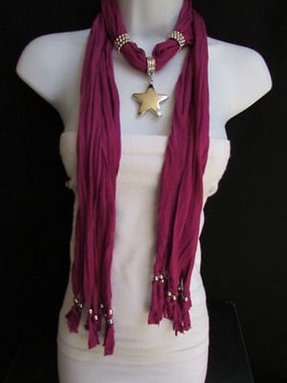 Other Women Magenta Fashion Soft Scarf Necklace Big Silver Christmas Star Pendant Image 2