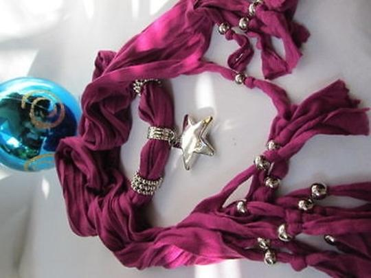 Other Women Magenta Fashion Soft Scarf Necklace Big Silver Christmas Star Pendant Image 3