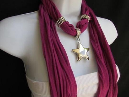 Other Women Magenta Fashion Soft Scarf Necklace Big Silver Christmas Star Pendant Image 4